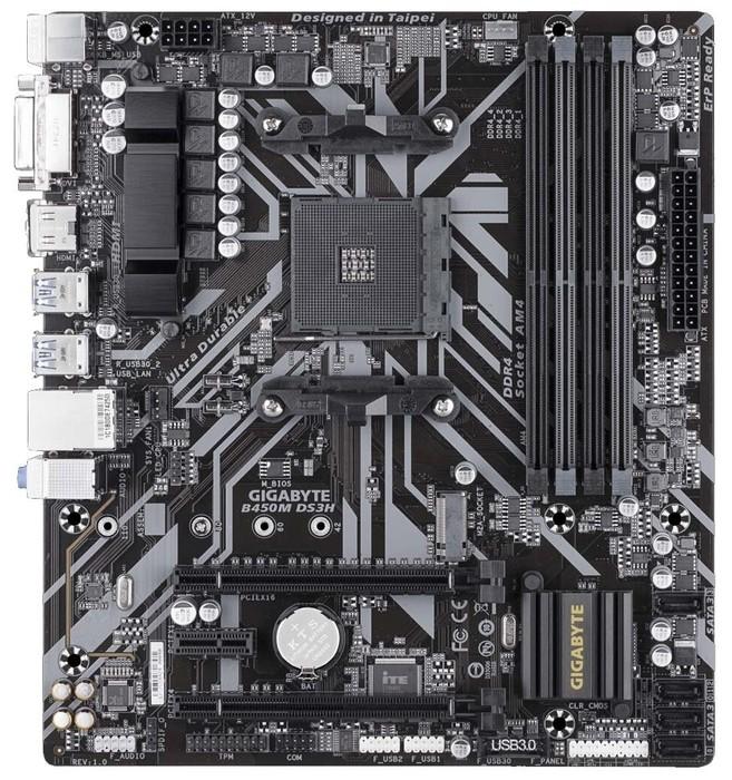 Мат. плата GIGABYTE B450M DS3H  AM4  2xPCI-E DVI+HDMI GbLAN SATA RAID MicroATX 4DDR4