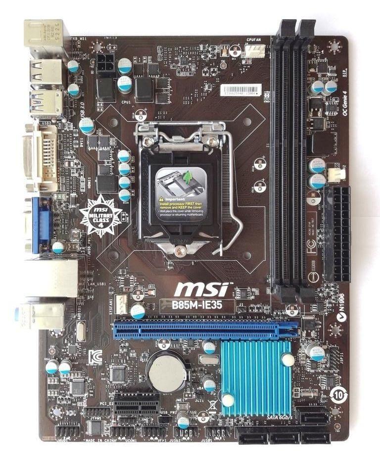 Мат. плата MSI B85M-IE35  LGA1150 B85 PCI-E Dsub+DVI+HDMI+DP GbLAN SATA MicroATX 2DDR3