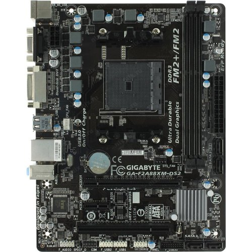 Мат. плата GIGABYTE GA-F2A88XM-DS2 SocketFM2+ AMD A88XPCI-E Dsub+DVI GbLAN SATA RAID MicroATX 2DDR3